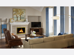 Neutral Transitional Living/Dining Room Design With Blue Accents Rendering thumb