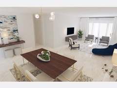 Elegant and modern living room Rendering thumb