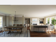 Transitional Bright Combined Living and Dining Room Rendering thumb