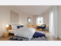 Cozy contemporary master bedroom & kids room Rendering thumb