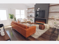 White Eclectic Living Room Rendering thumb