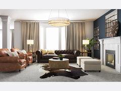 Masculine Glam Living Room Interior Design Rendering thumb