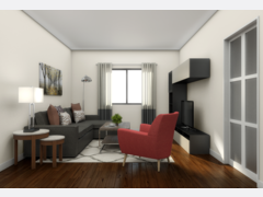 Soothing bedroom and living space Rendering thumb