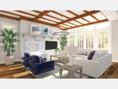 White and Blue Contemporary Living Room Rendering thumb