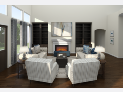 Transitional Blue Accented Living Room Rendering thumb