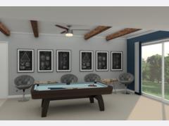 Sleek and Modern Game Room Design Rendering thumb