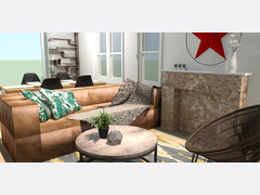 Bohemian Living Room Interior Design Rendering thumb