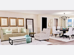 Traditional Living Room Design Rendering thumb