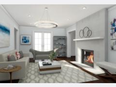 Neils Modern White Living Room Design Rendering thumb