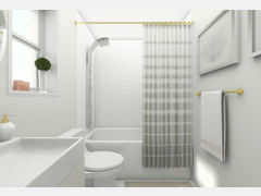 Modern and Sleek White Bathroom Design Rendering thumb