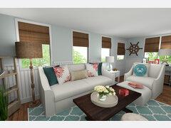 Beautiful Coastal Living Room Rendering thumb