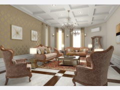 Traditional Living Room Rendering thumb
