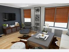 Modern Rustic Living Room  Rendering thumb