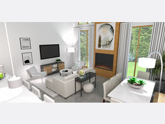 Sophisticated Combined Living/ Dining Room Rendering thumb