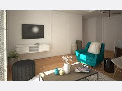 Bright Mid Century Modern Living Room Rendering thumb