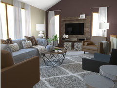 Transitional Comfortbale Living Room in Brown and Grey Tones Rendering thumb