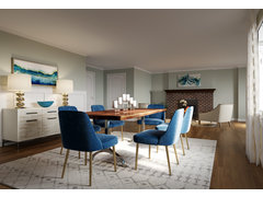 Contemporary Blue Accented Living/Dining  Rendering thumb