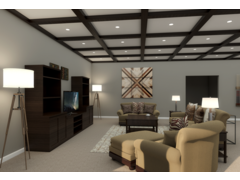 Traditional and comfortable basement bar and living room  Rendering thumb