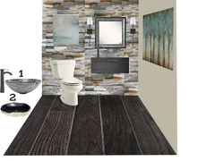 Classy Home Office & Powder Room Transfomation Rendering thumb
