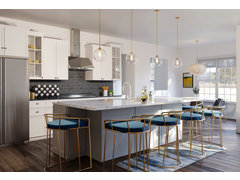 Contemporary Kitchen, Dining & Living Space Rendering thumb
