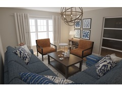 Homey traditional industrial living room Rendering thumb