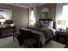 Masculine transitional bedroom Rendering thumb