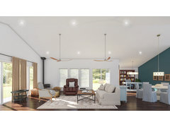 Open Contemporary Living/Dining Space Rendering thumb
