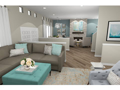 Elegant Farm style Living and Dining Room Rendering thumb
