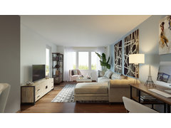Modern Living, dining and bedroom design Rendering thumb