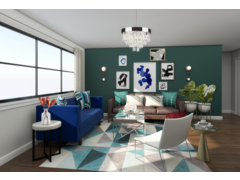 Colorful Eccentric Apartment Living Room Rendering thumb