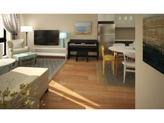 Contemporary with Neutral Tones Living Room Rendering thumb