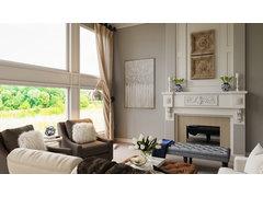 Classic White Elegant Living Room Rendering thumb
