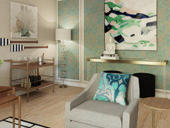 Eclectic Transitional Living Space Design Rendering thumb