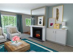 Transitional Glamorous Living Room Rendering thumb