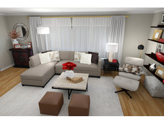 Warm, Transitional Living Room Rendering thumb