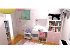 Jills pink girls room design Rendering thumb