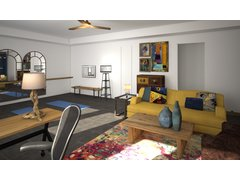 Bright & Colorful Home Office Yoga Room Rendering thumb