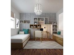 Modern, Feminine Bedroom Rendering thumb