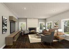 Sleek, Minimal Family Room Rendering thumb