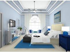 Glamorous & Calming Blue Bedroom Rendering thumb