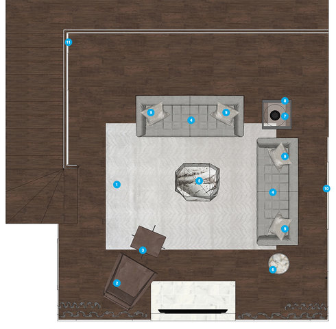 Online Designer Combined Living/Dining Floorplan