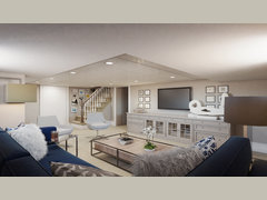 Modern Basement Family Room | Decorilla