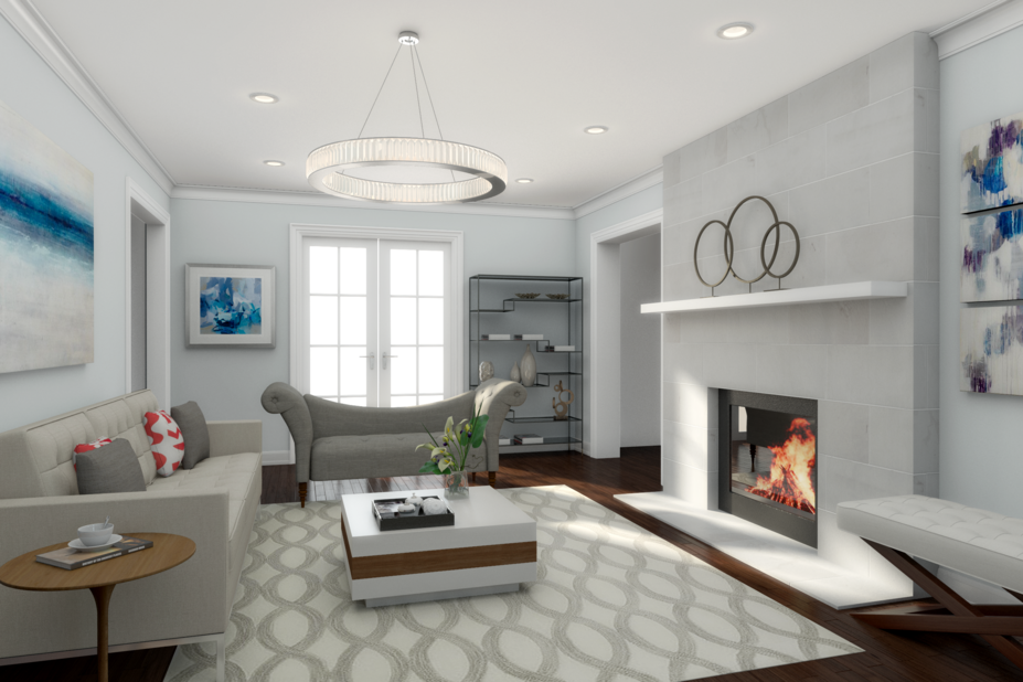 Neil 39 s modern white living room design decorilla for 3d room design mac