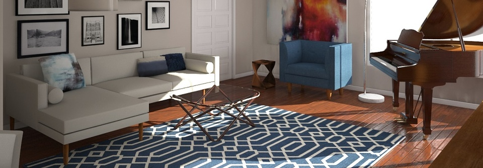 Before & After: Mid Century Modern Living Room Design Online