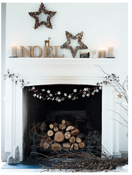 interior-design-fireplace-minimalist decor holiday mantel