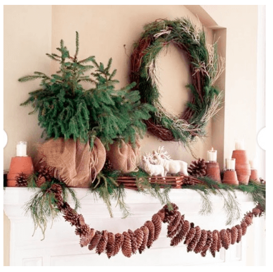 interior-design-fireplace-natural decor holiday mantel