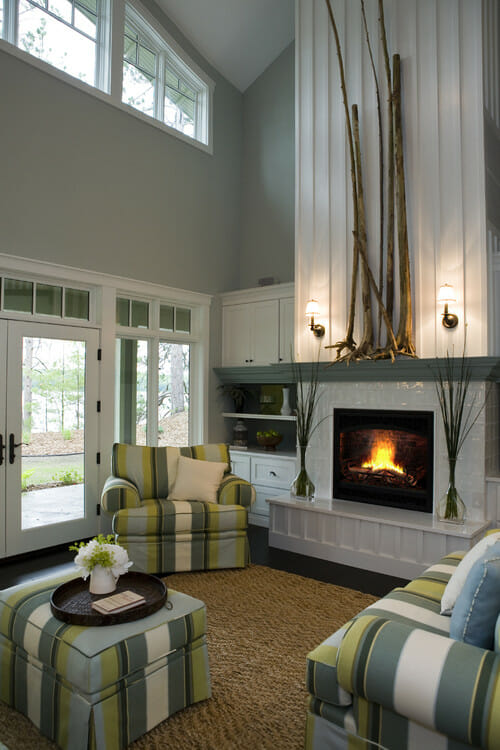 3 little known tips for decorating tall rooms decorilla - Living room contemporary fireplace design ...