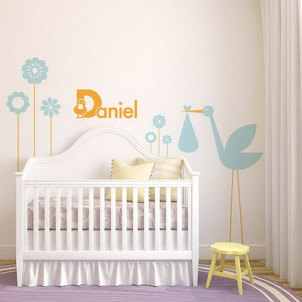 Baby nursery room with personalized name wall stickers decor