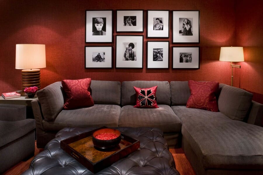 Modern Red Living Room Design Gallery