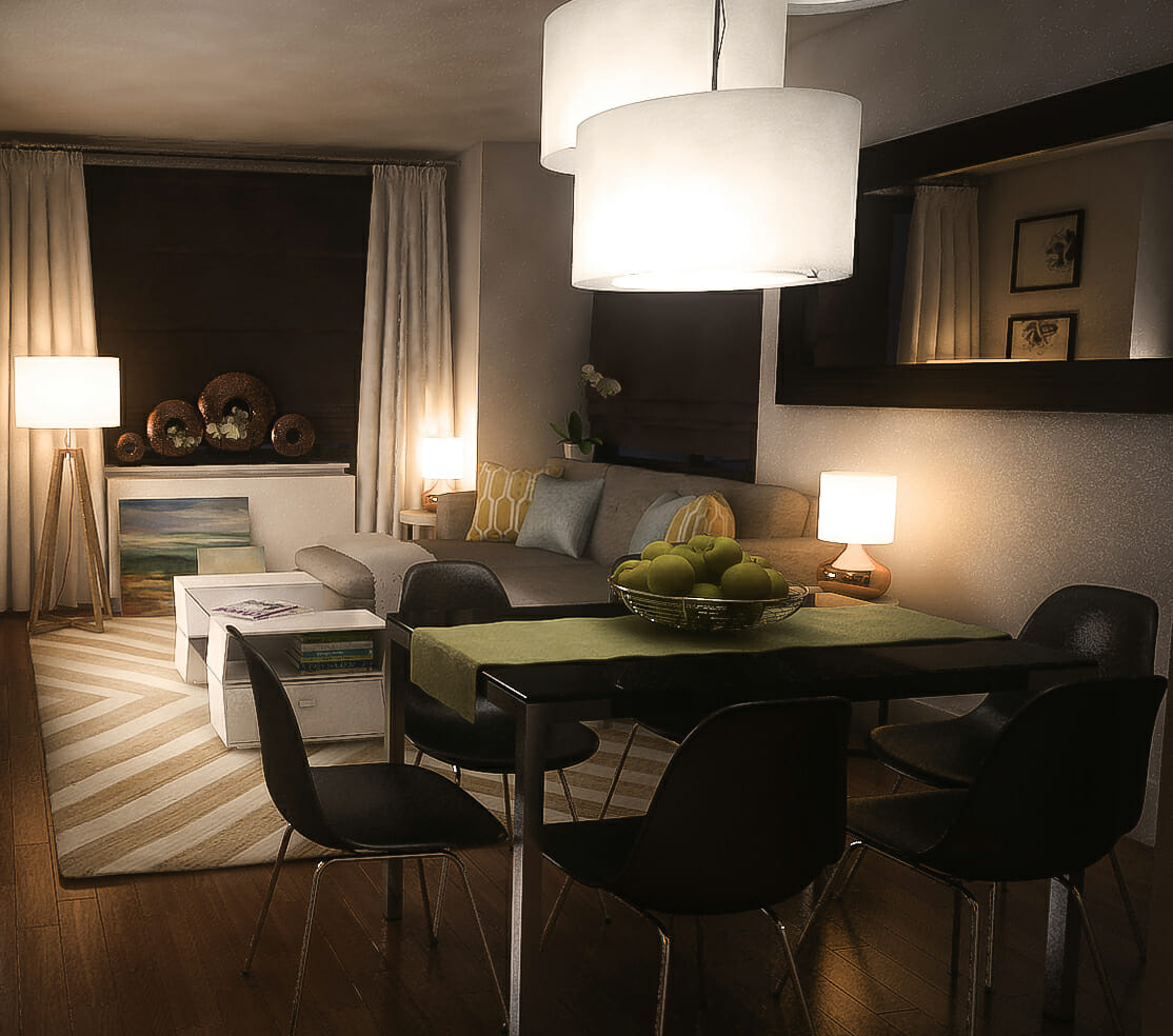 combined living room and dining room decoration